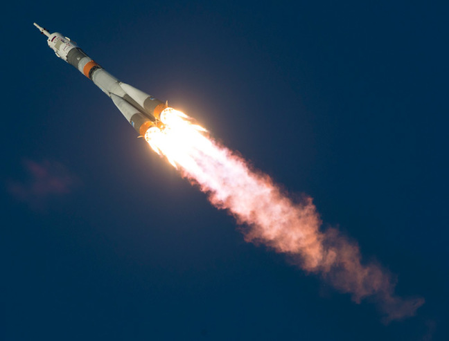 The Soyuz blasts off from Baikonur