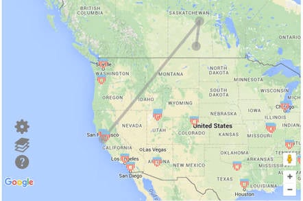 Canada California Map.Canadian Live Route Map Highlights Vulnerabilities To Nsa Spying