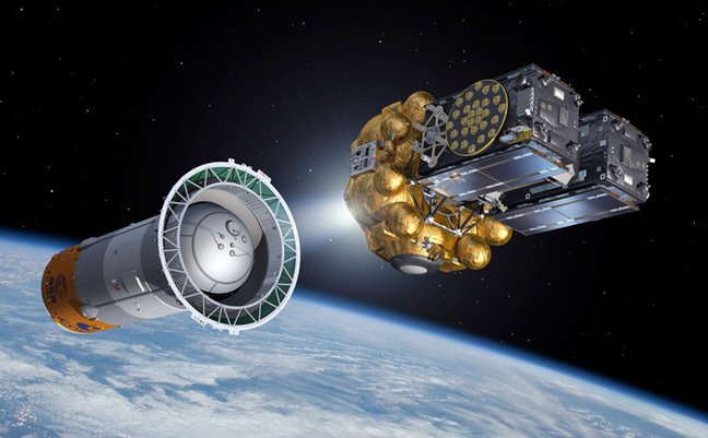 Artist's impression of Fregat and the satellites separating from the Soyuz upper stage