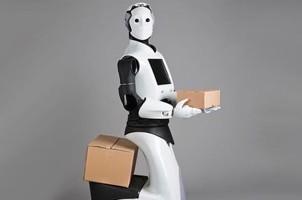 """""""REEM"""" robot carries cardboard box. Pic by Pal Robotics SL  Licensed under CC BY-SA 3.0 via Commons"""