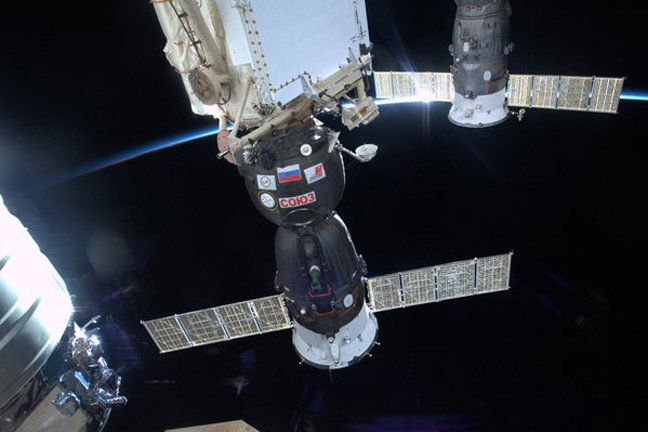 The Soyuz spacecraft docked to the ISS. Pic: Tim Peake