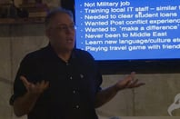 Iraq hostage and SQL programmer Peter Moore in still from a Reg Christmas lecture he gave in 2015