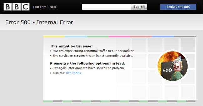 Error 500 on BBC News website