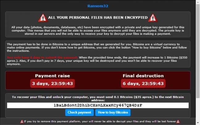 Ransom32 encryption warning