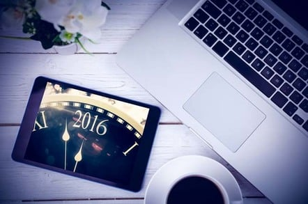 2016 New year's message written on tablet which is resting on a laptop keyboard. Photo by Shutterstock