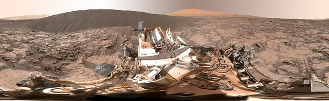 The full dune panorama as snapped by Curiosity