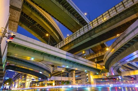 Intersecting above-ground highways (skyways) constructed in intricate pattern, shot from below at night. Photo by Shutterstock