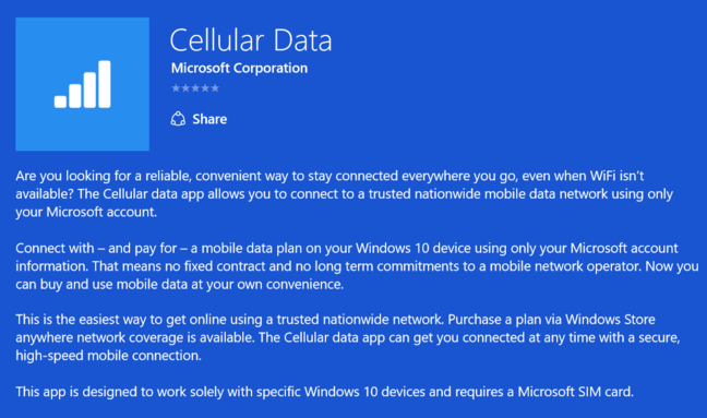 Microsoft's app for Cellular Data