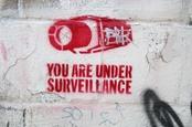 Surveillance graffiti image via shutterstock