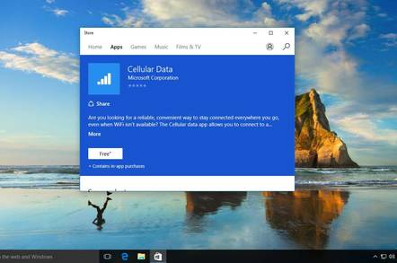 Microsoft's app for its own Windows 10 SIM card