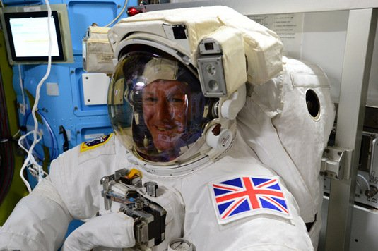 Tim Peake tries his spacesuit on for size