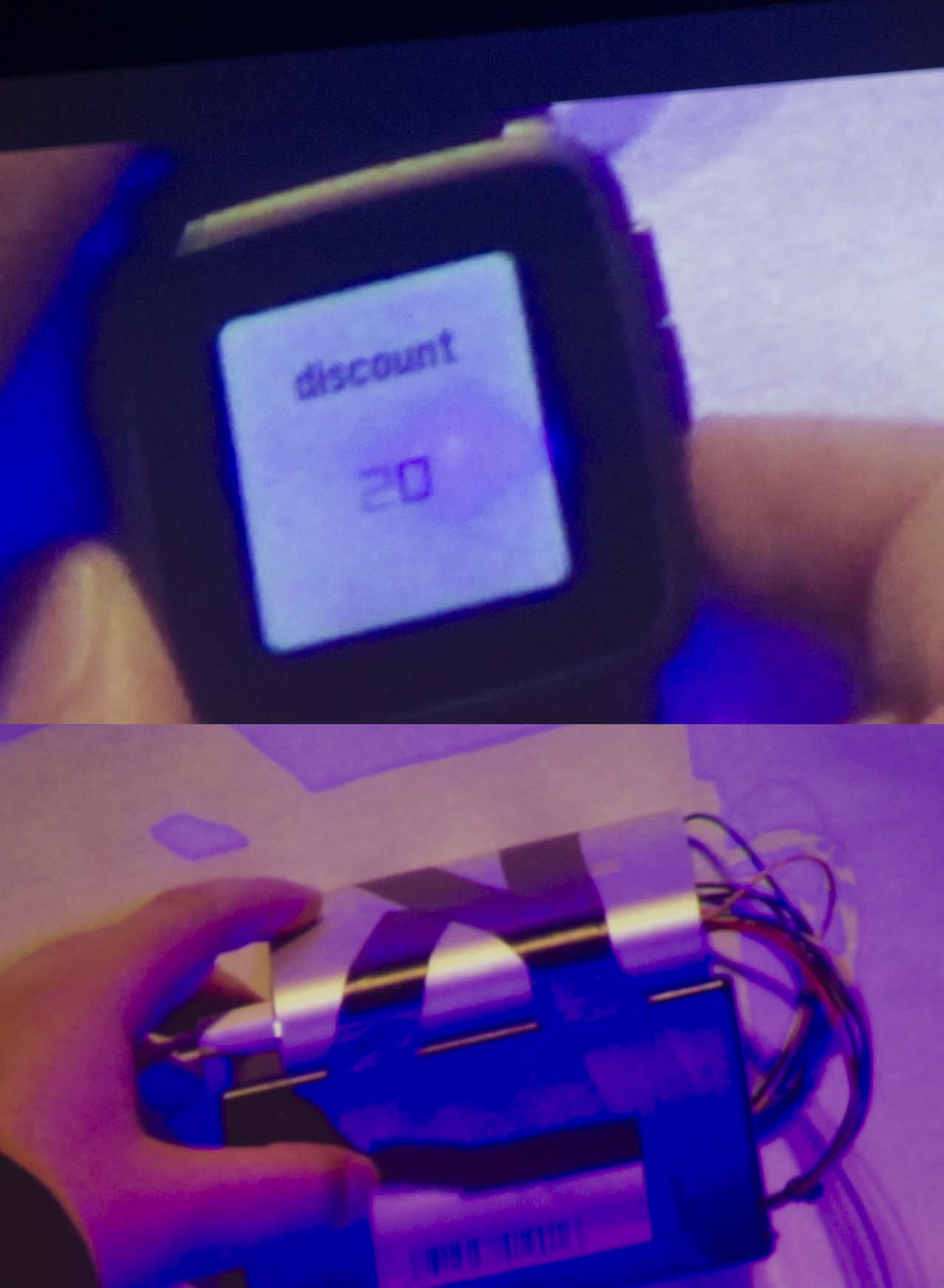Barcode generating app (above), with the barcode printer.