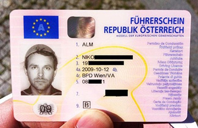Alm's driving licence