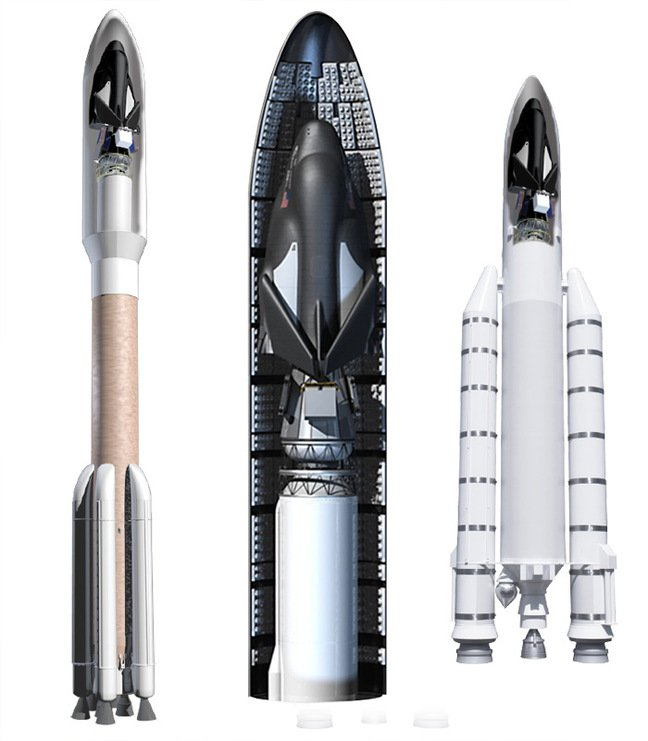Dream Chaser in its fairing atop Atlas V and Ariane 5 rockets