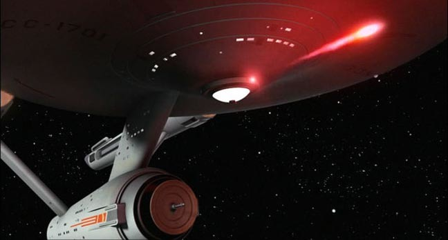 "Still from the Star Trek original series episode ""arena"" of enterprise using photon torpedo.  Pic copyright:  Paramount Pictures, CBS Studios"