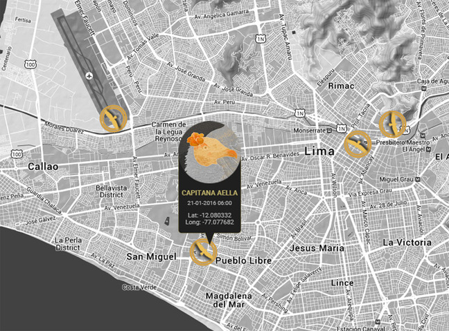 Screen grab of the Lima live vulture map