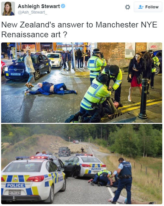 Tweet of car-chase take-down snap and Manchester New Year's Eve photo