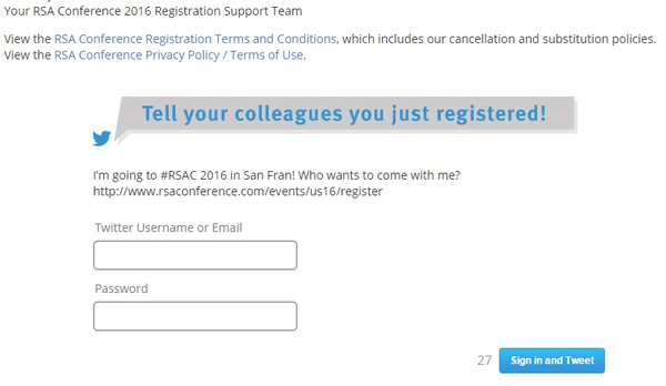 RSA Twitter registration form