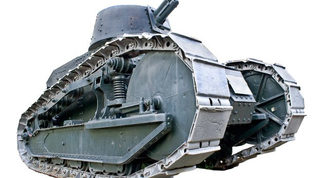 WWI French tank picture via Shutterstock