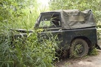 Crashed jeep, photo via Shutterstock