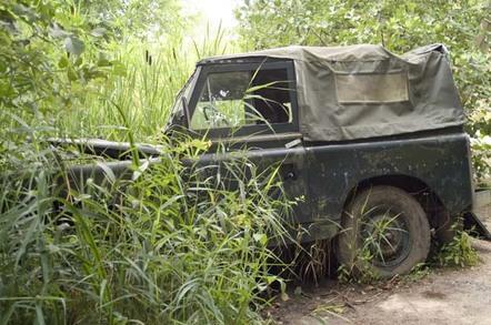 Crashed jeep, photo via Shutterstock