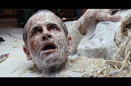 Ash loses his head in a still of the movie Alien. Copyright: 20th Century Fox