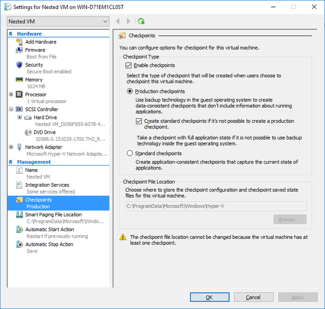 Production Checkpoints in Hyper-V 2016