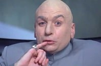 Super-villain Dr Evil puts finger to lip in scheming manner, asks for one million dollars. Pic: New Line Cinema