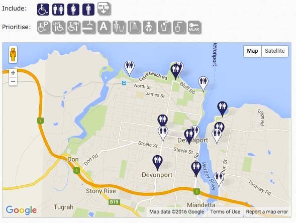 National Toilet Map's Devonport locations