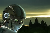 AI Robot viewed from the back against an arty landscape. Pic via SHuttertock