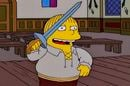 Ralph Wiggum as Hamlet, ready to stab
