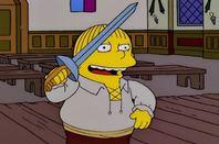 Ralph Wiggum as Hamlet, ready to stab