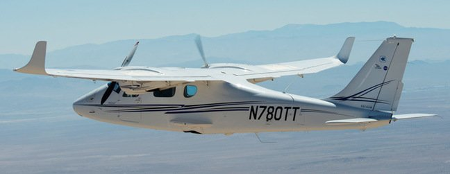 The unmodified Tecnam P2006T during flight testing. Pic: NASA