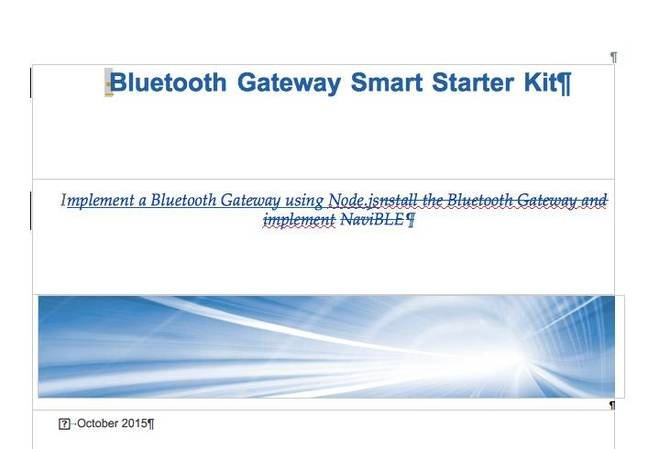 Bluetooth gateway kit screen grab