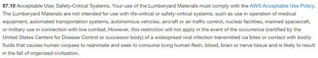 Amazon's Lumberyard conditions pertaining to zombies