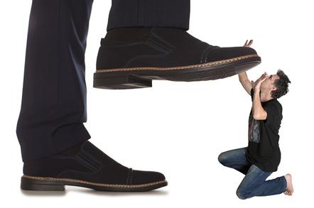 boot crushing man