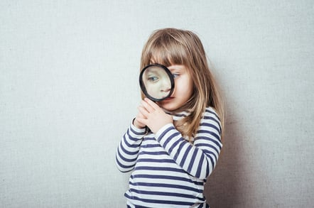 Girl magnifying glass, photo via Shutterstock