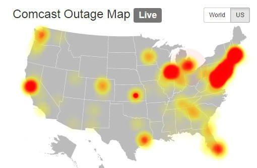 Map of Comcast outage