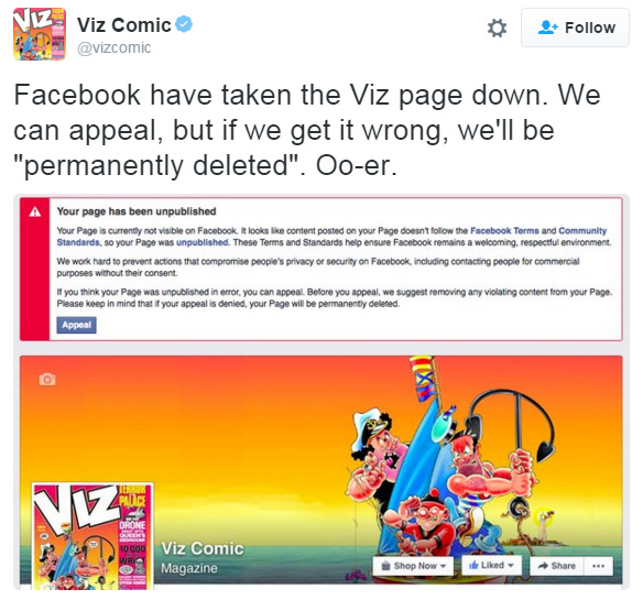 The Viz tweet announcing the demise of its Facebook page
