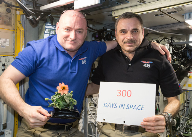 Scott Kelly and Mikhail Kornienko celebrate 300 days in space