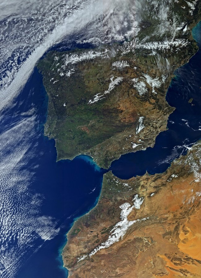 Sentinel's view of the Iberian Peninsula and North Africa