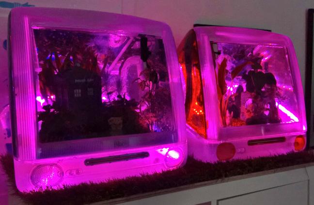 The tank illuminated with purple light