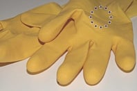 EU logo on rubber glove