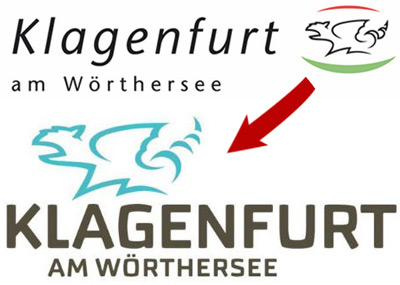 The Klagenfurt logos before and after