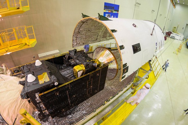 The encapsulation of the ExoMars payload in its fairing last week. Pic: ESA / B. Bethge