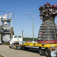 The RS-25 being trucked to the test stand. Pic: NASA/SSC