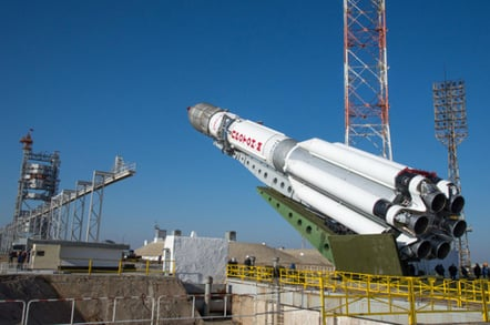The Proton-M being raised into a vertical position. Pic: ESA / B. Bethge