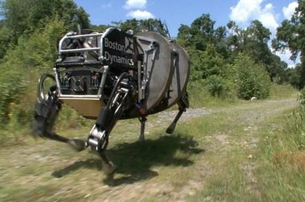 Still from Boston Dynamics video (Robotic mule runs through the forest)