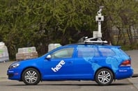 Blue Google HERE car with camera attached