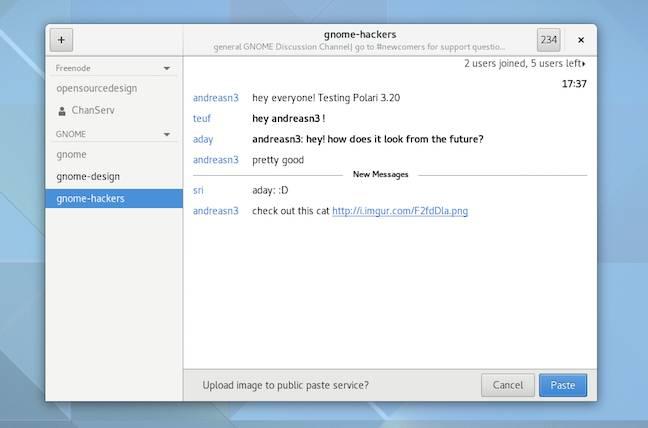 Gnome's improved Polari IRC client